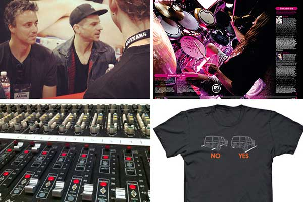 Clockwise from left: Sonor signing at NAMM with Dino Campanella; Rhythm magazine's Danny Carey feature; Neve faders, API board; my first t-shirt design.